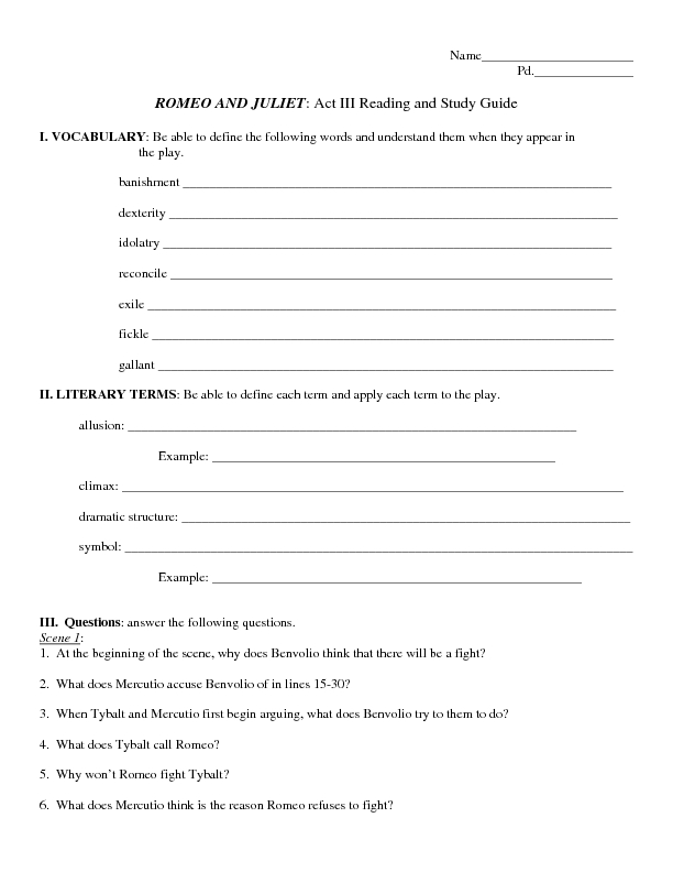 romeo and juliet act iii reading and study guide