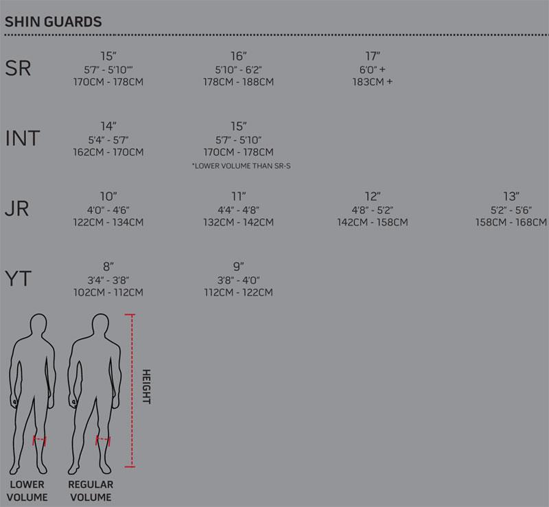 nike shin pads size guide